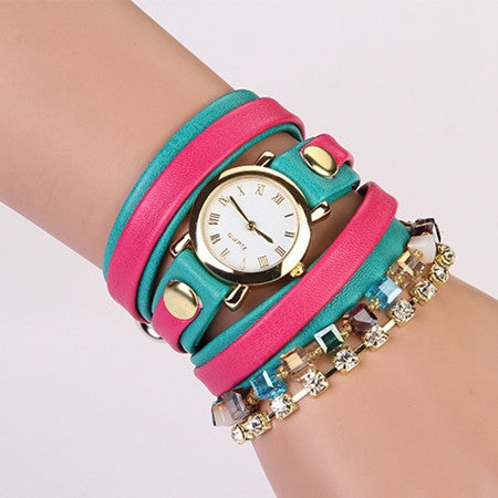 Hot Sale Summer Fashion Latest Popular Hawaiian Style Sparkling Rhinestone Leather Chain Quartz Watches Women Wristwatch