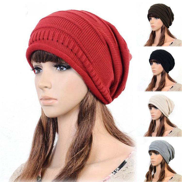 Hot Korean Version of Pupular Folding Cap Winter Hat Fahsional Women Knitting Wool Cap