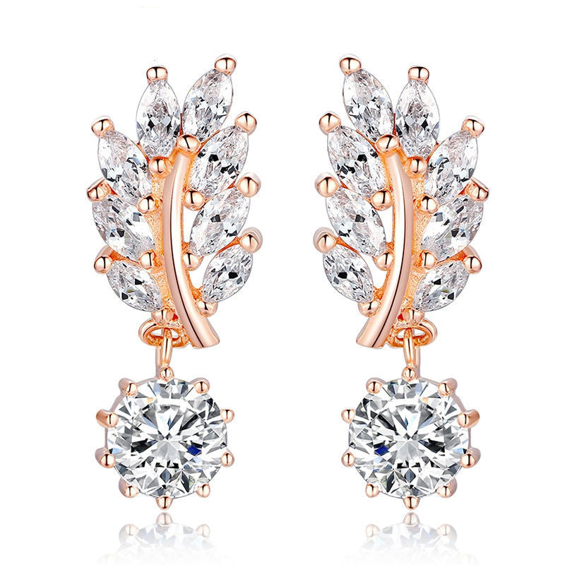 HOT Trendy Jewelry Women Drop Earring Rose Gold Plated with CZ in Leaf Shape for Special Novelty Earring