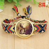 Fashion Handmade Braided Owl Friendship Bracelet Rope Watch Women Quartz Wristwatch