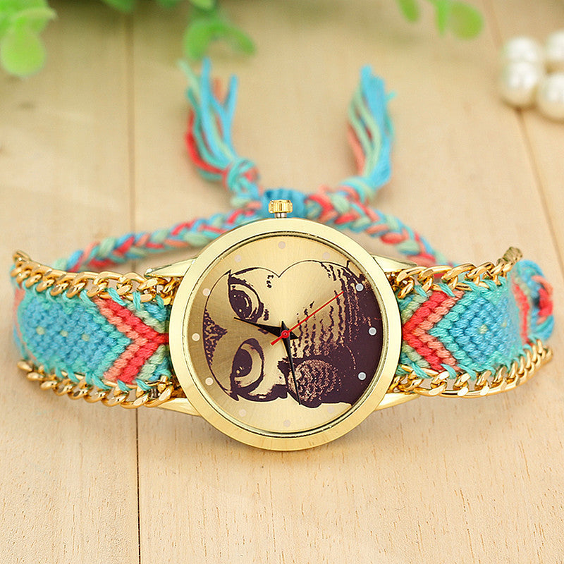 Fashion Handmade Braided Owl Friendship Bracelet Rope Watch Women Quartz Wristwatches