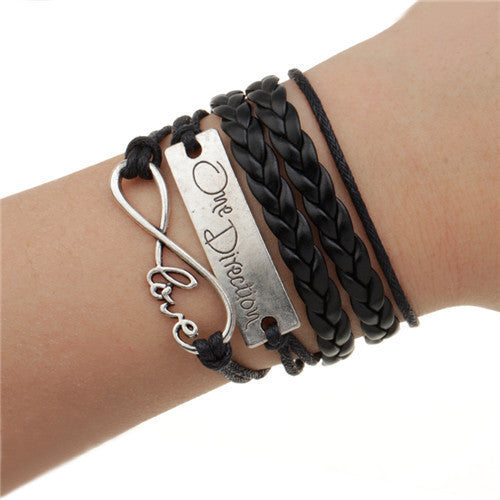 Handmade Charm Bracelet Eiffel Tower Love Anchors Wrap Leather Bracelet pulseira couro bracelets for women