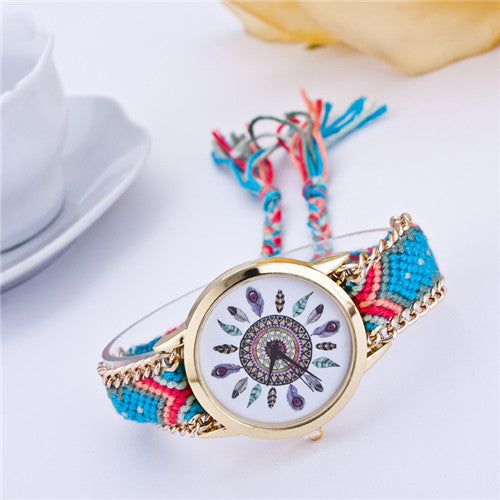 Handmade Braided Friendship Bracelet Watch New arrival feather HandWoven wristwatch Ladies Quarzt gold Watch women dress watches