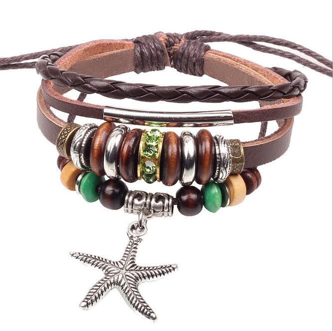 Handmade Braided Genuine Leather Adjustable Bracelet Wristband Casual Jewelry Unisex