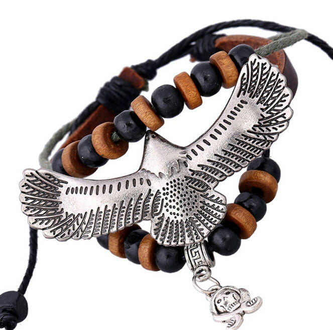 Handmade Eagle Charm Leather Adjustable Bracelet Wristband Jewelry Bijouterie Unisex For Men Girls Woman Gift