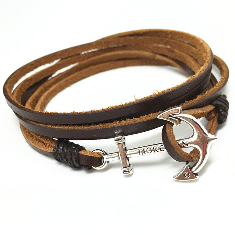 Handmade New Punk Vintage Fish Hook Charm Genuine Leather Bracelets for Homme Men Jewelry Accessories