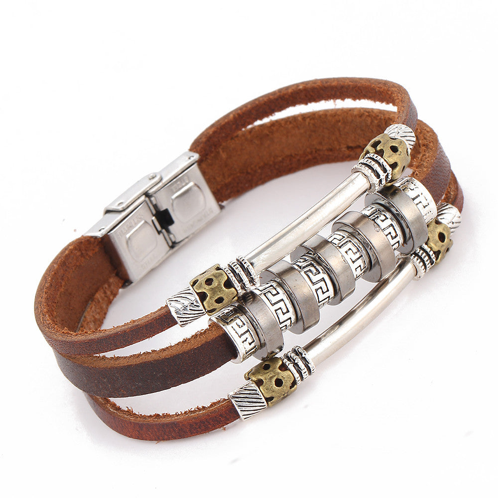 Handmade Retro Leather Woven Charm Rock Bracelet Men Vintage Braided Bangles Love Men Jewelry pulseira feminina