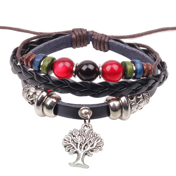 Handmade Tree Charm Genuine Leather Adjustable Bracelet Wristband Jewelry Unisex Men Woman