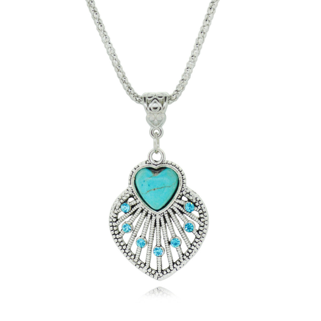 Heart Turquoise Chain Neckalce Vintage Silver Color Jewelry Crystal Heart Statement Pendant Necklace for Women Fine Jewelry