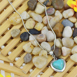 Heart Tyle Necklaces & Pendants Vintage Silver Color Turquoise Pendant Necklace Women Choker Collares Summer Jewelry