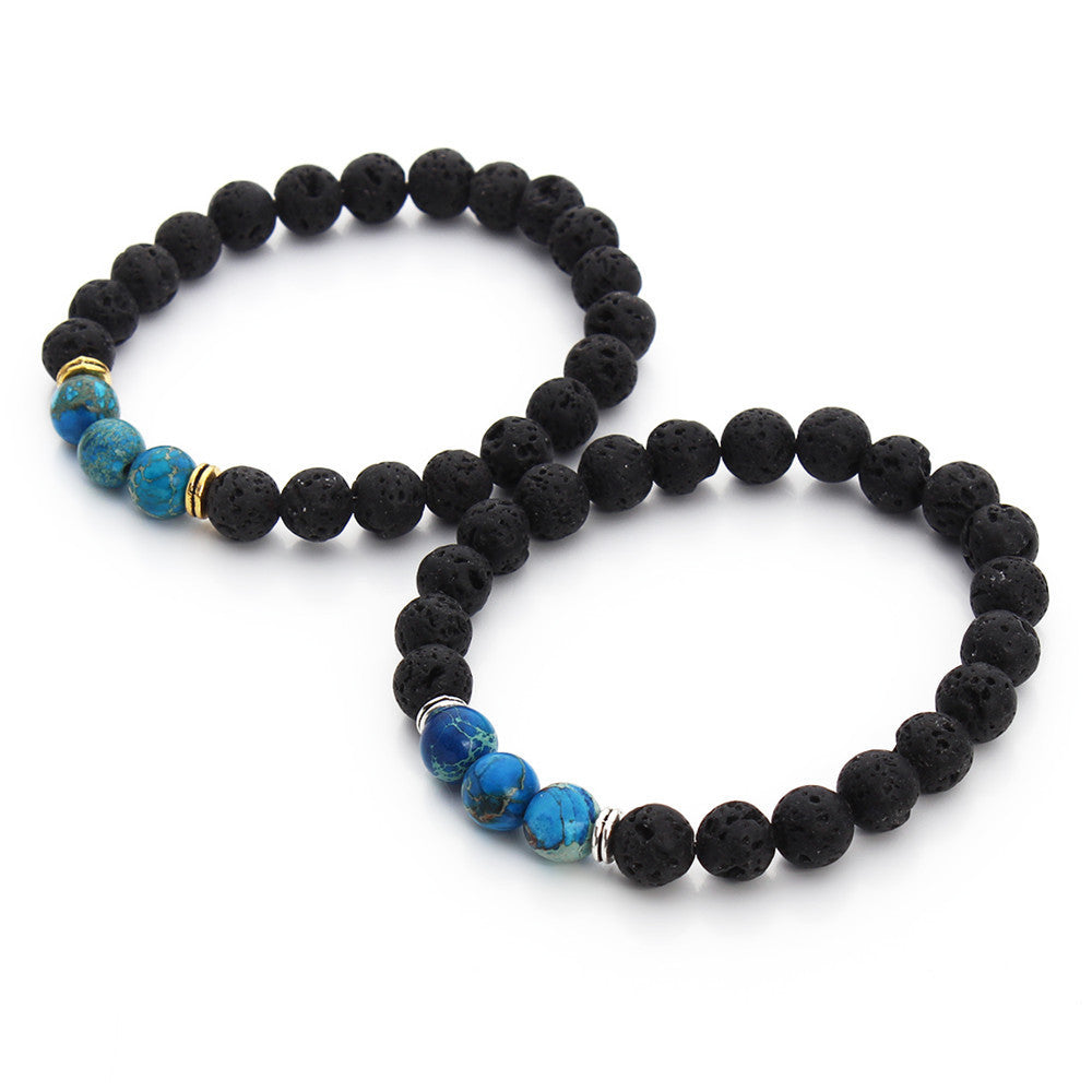 High Quality Black Lava Stone Beaded Bracelet Bangle Imperial Beads Stretch Women Mens Energy Yoga Jewelry Gift Bracelets