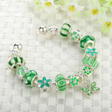 High Quality Silver Bracelets & Bangle for Women With Green Murano Glass Beads Butterfly Charm DIY Jewelry Gift
