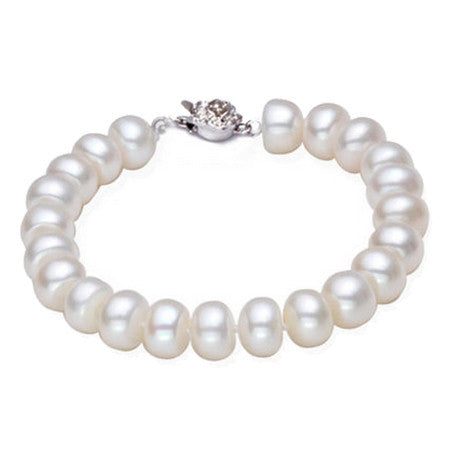 High luster 9-10mm natural big pearl charm bracelet for women top quality fashion bangle bracelet mother's day gift