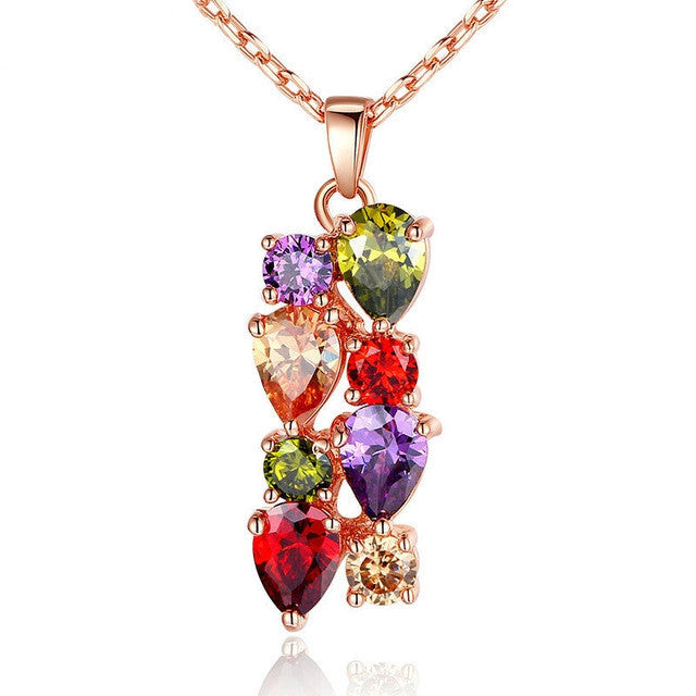 High Quality 18K Gold Plated Necklaces Pendants with AAA Multicolor Cubic Zircon For Women Gift