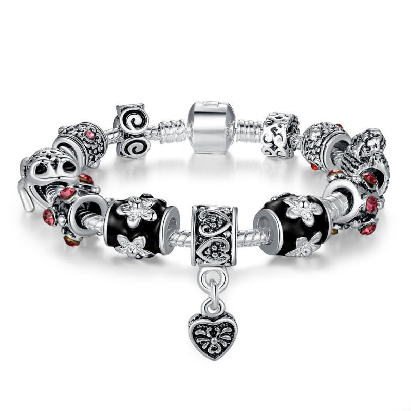 Fashion High Quality European Tibetan Silver Beads Bracelets & Bangles with Heart Charm for Women DIY Jewelry