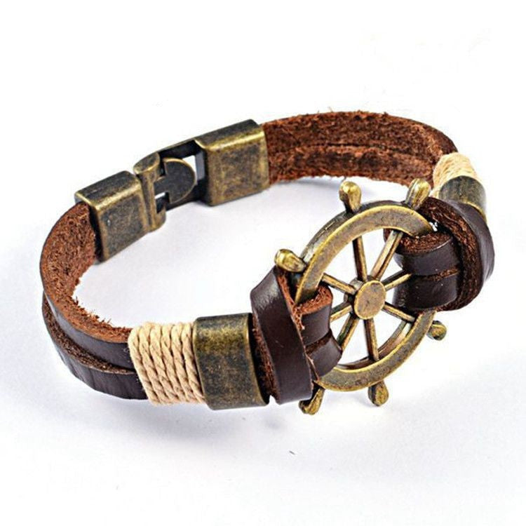 High Quality Fashion Jewelry Vintage Stainless Steel Rudder Charm Genuine Cow Leather Bracelet For Men Party Gift