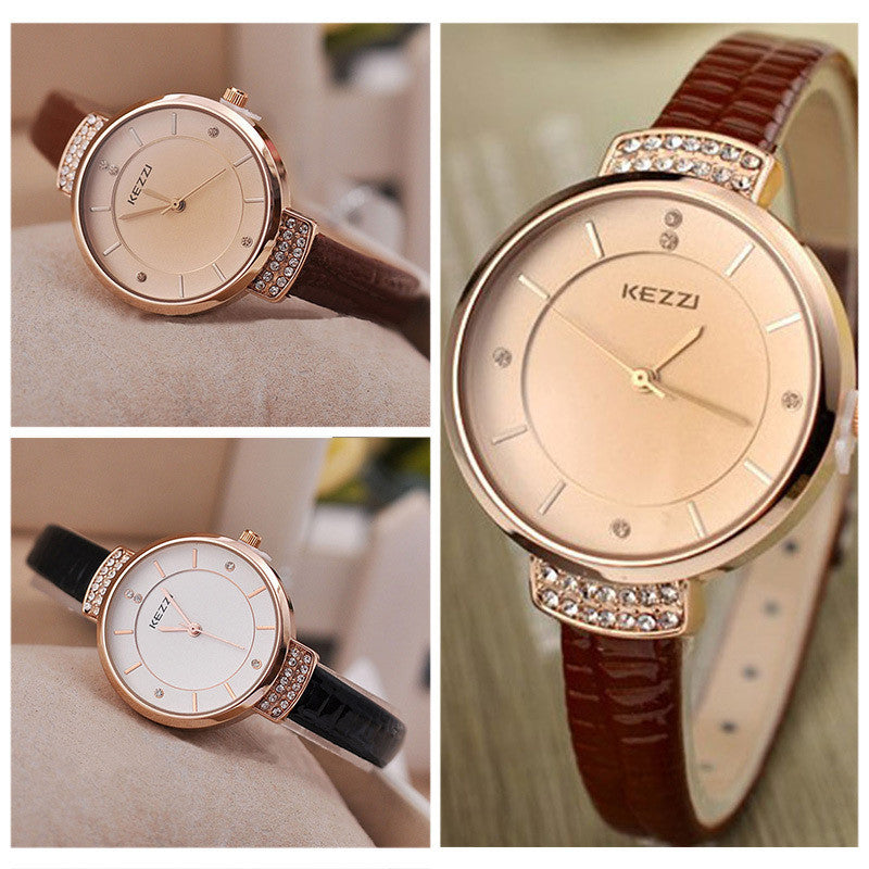 High Quality KEZZI Brand Leather Strap Watches Women Dress Watch Waterproof Ladies Quartz Watch