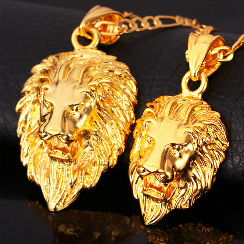 Hip Hop Big Lion Head Pendant & Chain For Men Jewelry Platinum/Yellow Gold Plated Vintage Kpop Statement Necklace