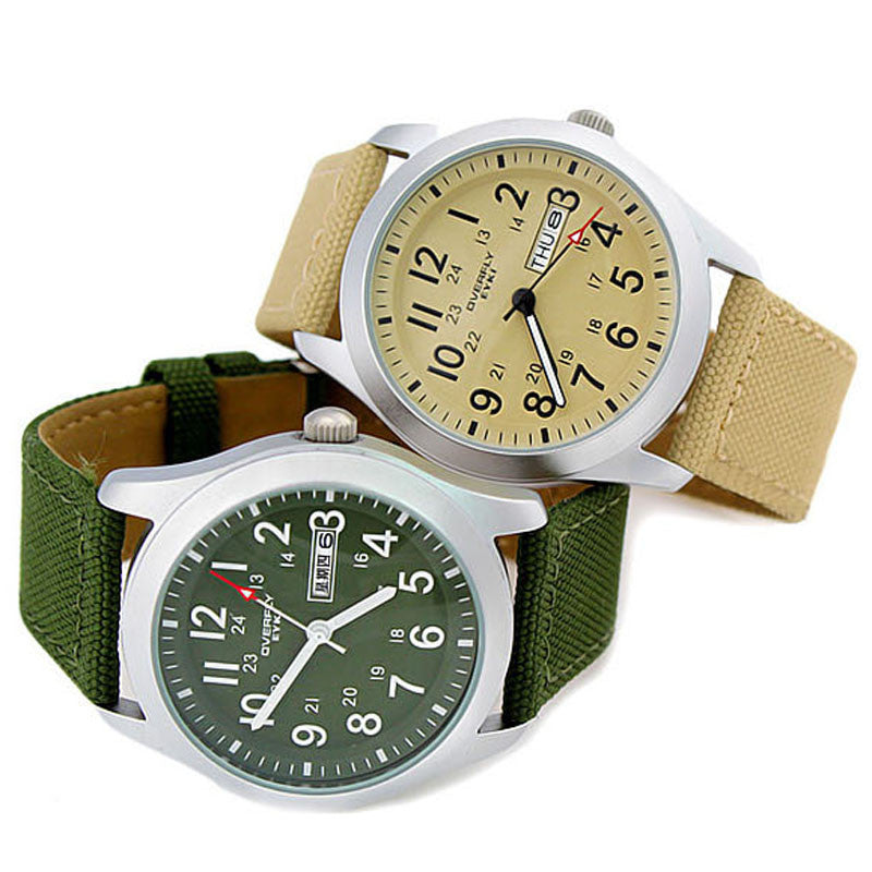 Hodinky Men EYKI Men Watch Military Army Green Canvas Strap Quartz Watches Men Sport Watch