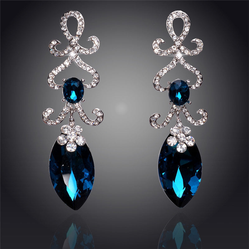 Hollow Crystal Water Drop 18K Silver Plated Austrian Crystal Drop Earrings For Women Fashion Jewelry