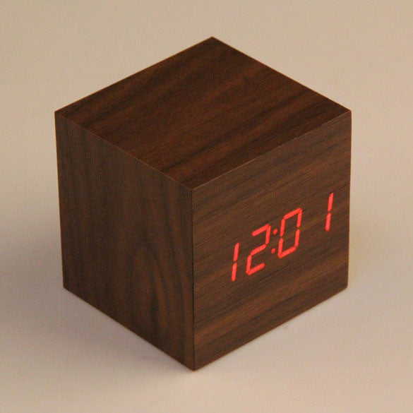 Home decoration Cube LED Alarm Clock Temperature Sounds Control display electronic desktop Digital Wooden table clocks