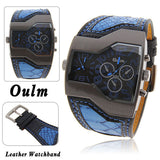 Brand Oulm Luxury men's military Wrist watch, man Dual Quartz Movement/Leather strap fashion dress sports watches