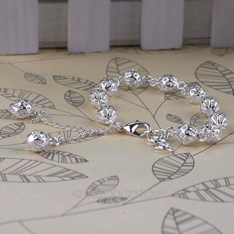 Hot Fashion Women Silver plated Hollow Out Ball Wristlet Bracelets Women Bracelets Pure Silver Jewelry