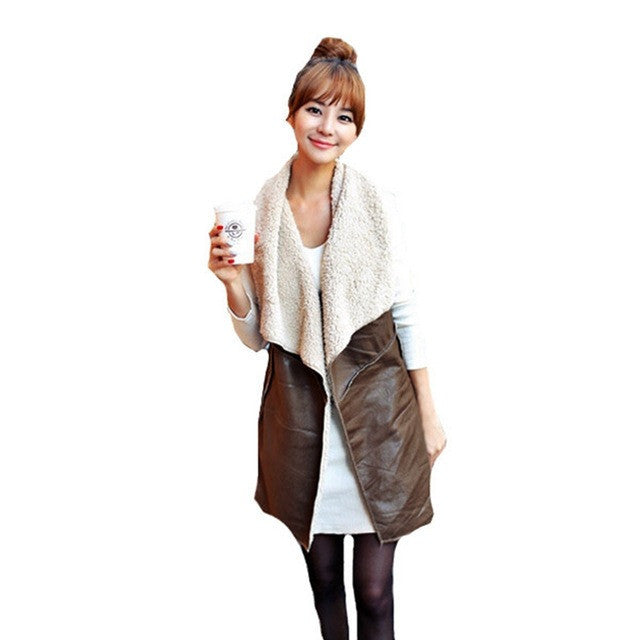 Winter Women Lady Leisure Fashion Warm Faux Fur Collar Vest Long LeatherA Waistcoat Coat Outerwear Brown