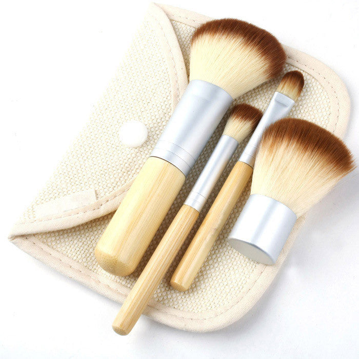 4Pcs Earth-Friendly Bamboo Elaborate Makeup Brush Sets