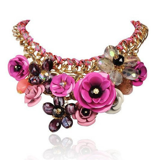 Rosy PINK Necklaces & Pendants Hot Sale Transparent Big Resin Crystal Flower Vintage Choker Statement Necklace Fashion Jewelry