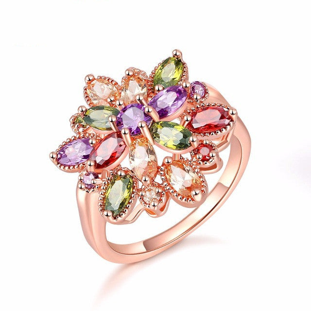 Hot Sale Design AAA Cubic Zirconia Crystal Stone Wedding Flower Rings for Women Trendy Rose Gold Plated Jewelry