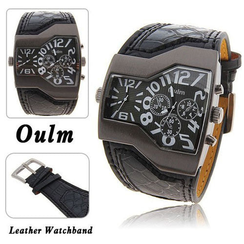 Hot Sale Famous Brand Oulm Men Military Watches With Leather Band Outdoor watches Top Quality