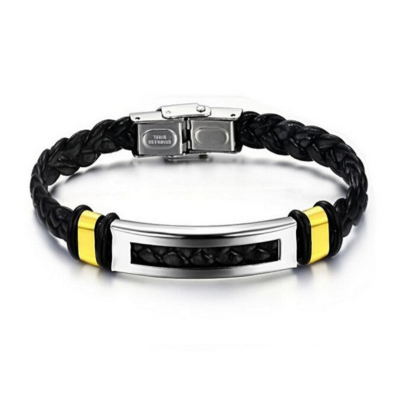 Hot Sale Men Stainless Steel Bracelet Silver and gold color pu Leather Bracelets Bangle Fashion Jewelry