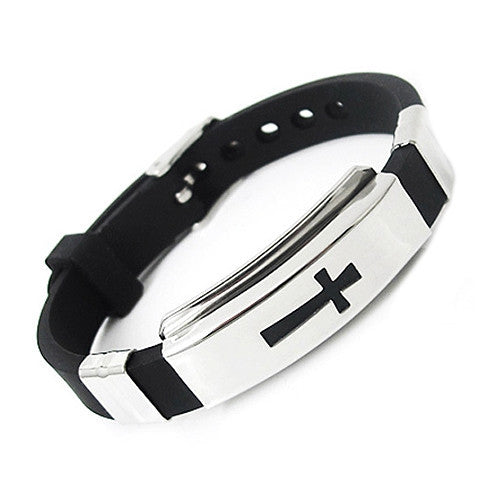 Men's Stainless Steel Bracelet Rubber Cross Black Bangle for Gift