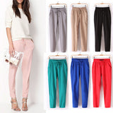 Hot Sale New Brand Casual Women Pants Solid Color Drawstring Elastic Waist Comfy Full Length Chiffon Harem Pants