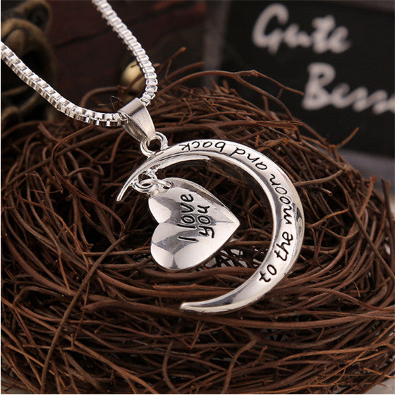 Hot Sale Polish Moon Heart With I love You Letter Pendant Necklace Women Chain Necklaces Jewelry Gifts