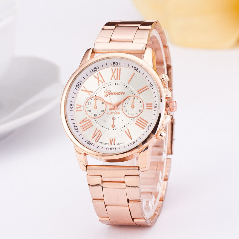 Hot Sale Stainless Steel Geneva Watch Luxury Brand Geneva Watch New Fashion Wristwatch Steel Band Quartz-watch Women