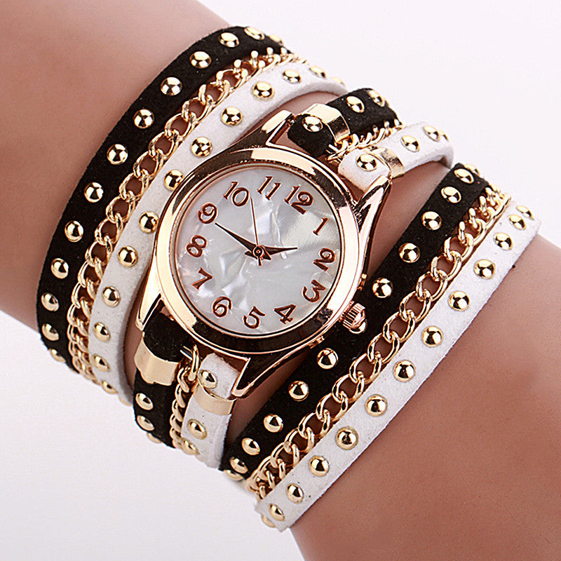 Hot Sale Summer Style Contrast Color Luxury Casual Watch Leather Bracelet Watch Wristwatch Women Watches Quartz Watch