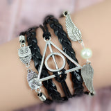 Hot Sale Vintage Pulseira Owl Wings Infinity Bracelet Multilayer Braided Leather Bracelets Bangles Valentine's Day