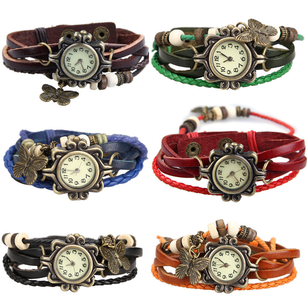 Hot Sale Vintage Quartz Wristwatch Women Dress Watches Wrap Butterfly Pendant Synthetic Leather Strap Watches Bracelet Wristwatch