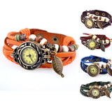Hot Sale Women Ladies Girls Fashion Long Leather Strap Bracelet Watch Vintage Punk Style Quartz Analog Casual Wristwatch