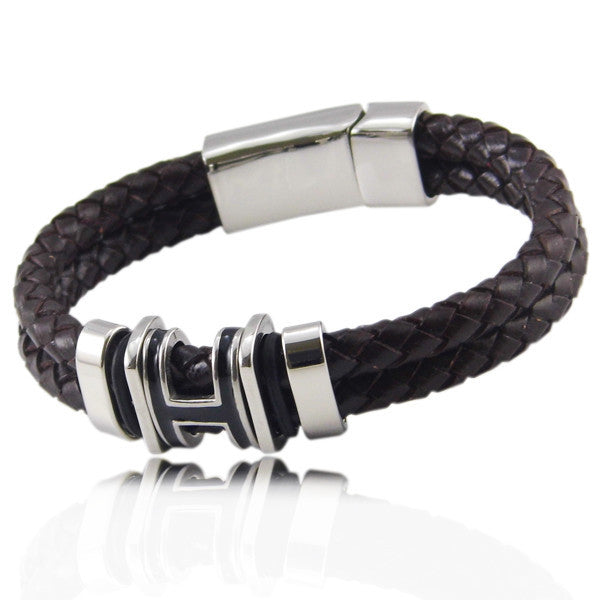 Hot Sell! Brand Bracelet 316 l Stainless Steel Punk Men And Women Braided Leather Bracelet
