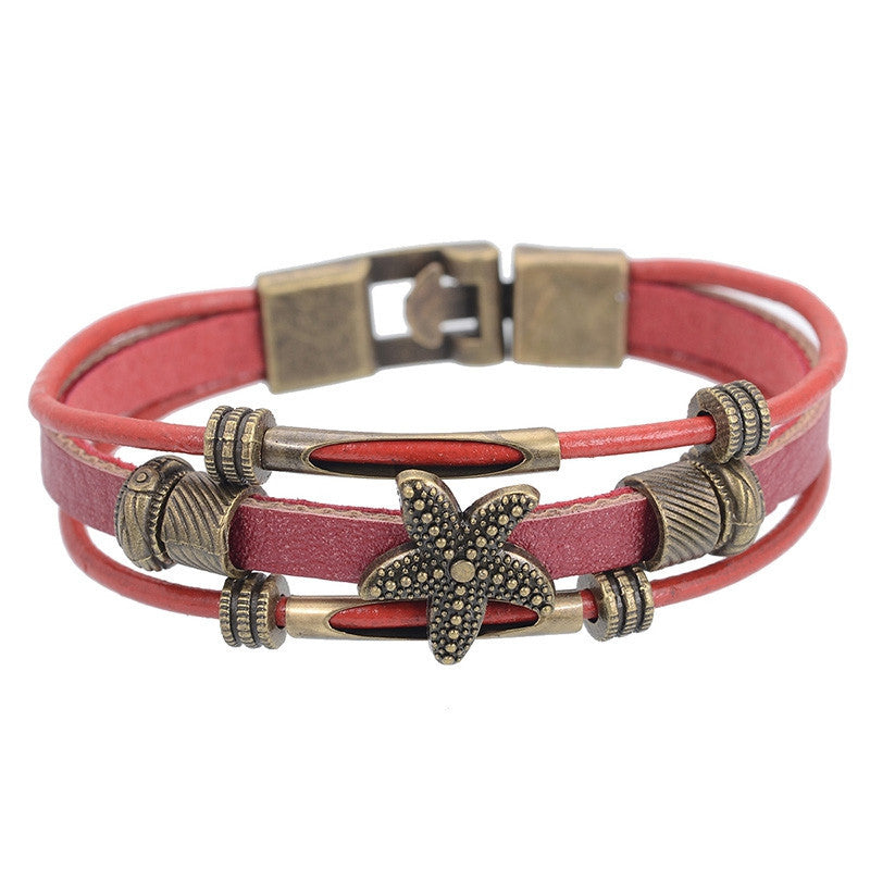 Hot Sell Handmade Men's Starfish Strand Charm Bracelet Vintage Multilayer Wrap Leather Bracelet Braided Women Wristband Jewelry