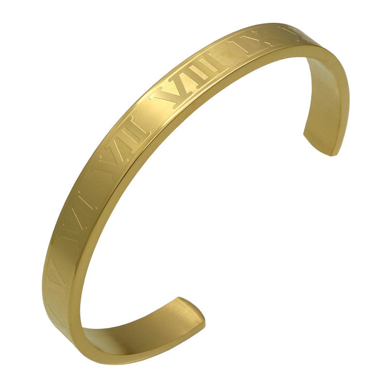 Hot Sell Titanium Stainless Steel Bangle Roman Numerals 24K Gold Plate Cuff Bracelet Love Letter Bracelet Men Women Open Bangles