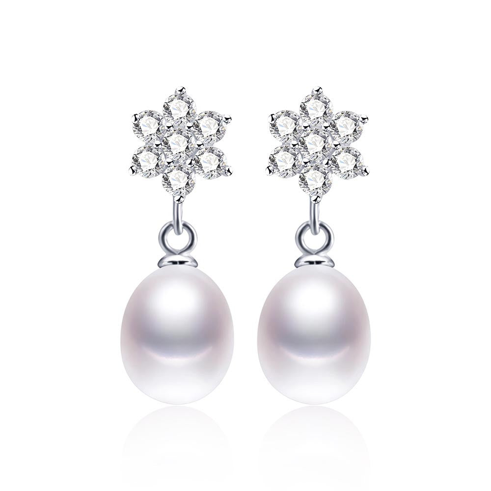 Hot Selling 925 sterling silver earrings for women 4 colors original freshwater pearl jewelry