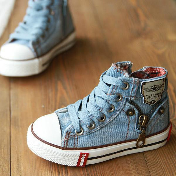 New Arrival Children Shoes Denim Jeans Zipper Sneakers