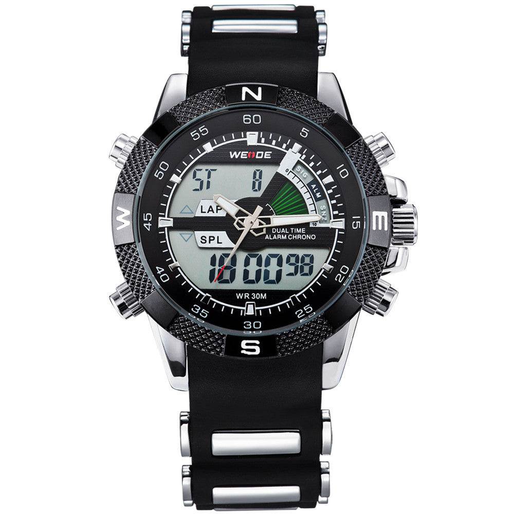 WEIDE Watches Men Luxury Brand Famous Logo Military LCD Luminous Analog Digital Date Week Alarm Display