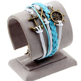 Hot men and women jewelry love owl charm bracelets anchor leather bracelet best friend friendship bracelets & bangles