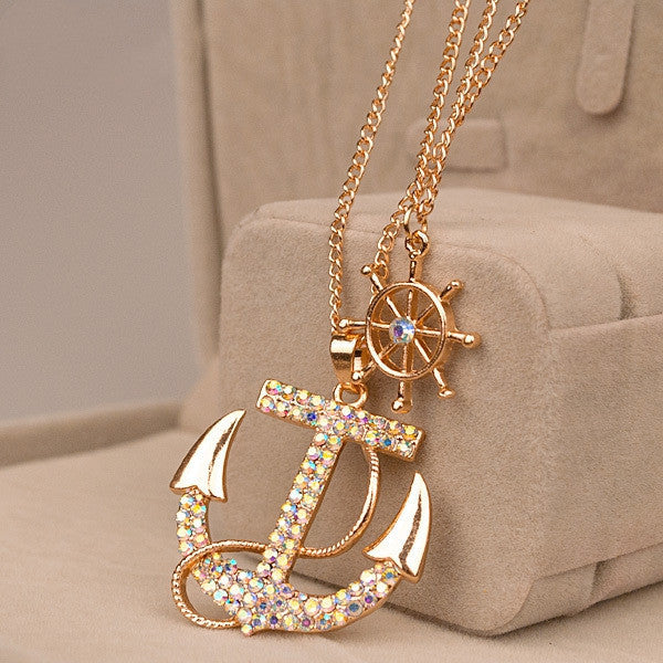 Hot sale Fashion jewelry classical crystal anchor pendant necklace
