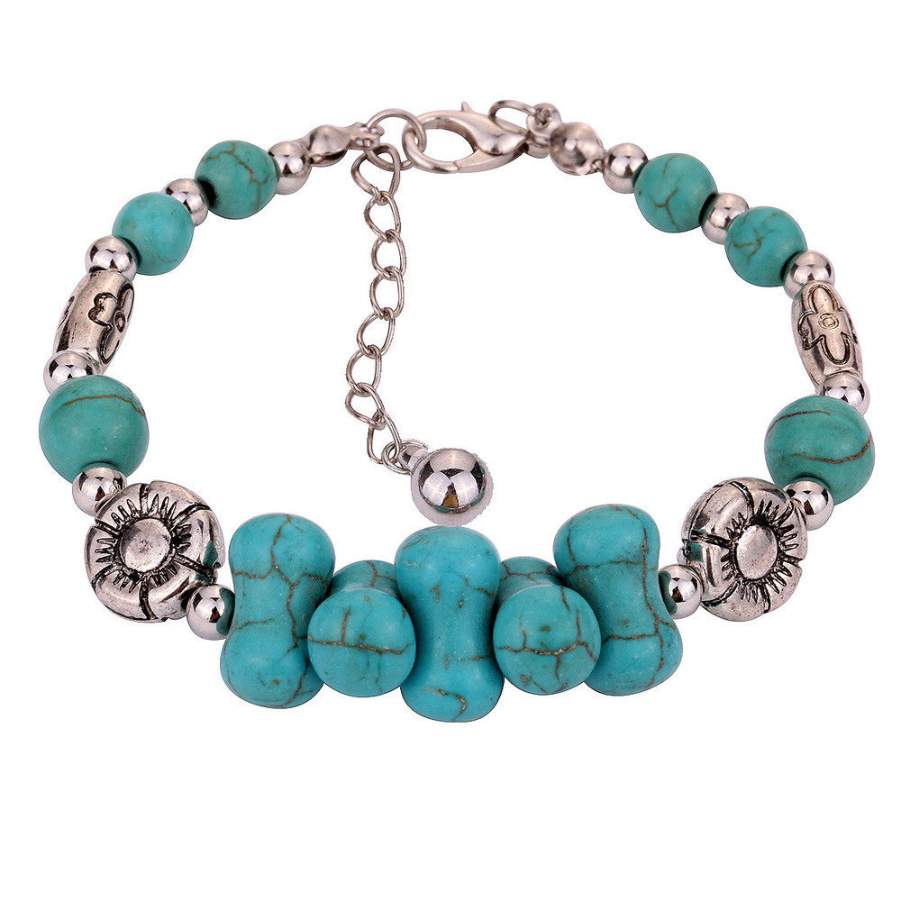 Hot sale fashion women's turquoise tibetan silver bracelet silver bangle bracelet vintage style
